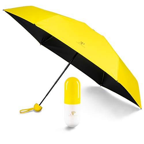 ADRIANO PORCARO® - Regenschirm - Taschenschirm - Mini Regenschirm – klein, leicht & kompakt - UV undurchlässig inkl. Schirm-Tasche & Reise-Etui (Gelb)