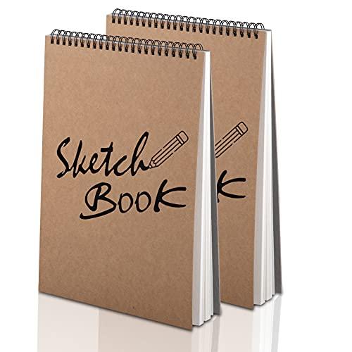 Yordawn Bloc de Dibujo A4 Cuadernos de Bocetos Cuaderno de Notas en Blanco con 60 Páginas/ 30 Hojas 120 gsm Bloc de Notas Espiral Cubierta de Kraft para Dibujar Pack de 2