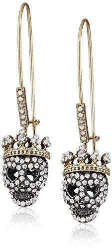 Betsey Johnson Pave Skull Dangle Earrings