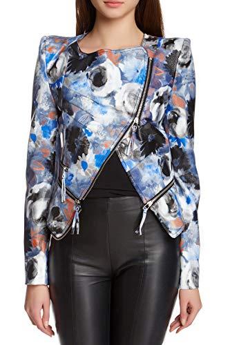 Tov Sassy Faux Leather Rider Jacket Blue