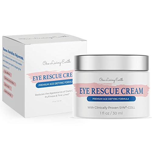 41QQ0hz5GcL - One Living Earth Eye Rescue Cream - Clinically Proven SYN-COLL Collagen-Stimulating Peptide - Anti Aging Formula for Wrinkles, Dark Circles, Fine Lines, Under Eye Bags & Puffiness (1 fl oz)