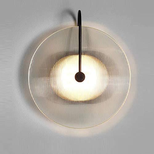 Lámpara de pared LED de hierro forjado y cristal, creativa, lámpara de lectura nórdica, salón, fondo de pared, dormitorio, mesita de noche, iluminación de entrada, diseño redondo sencillo