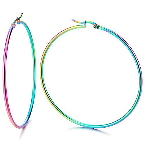 Paar Regenbogen Oxidiert GroBe Glatte Kreis Creolen fur Damen, Edelstahl Huggie Ohrringe
