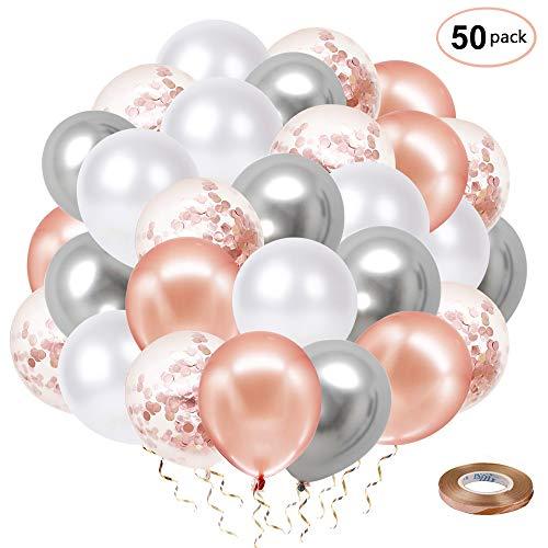FYSJ Rose Gold Konfetti Luftballons, 30cm Silber Metallic & Weiß Latex Ballon mit Rosenband für Hochzeit Geburtstag Abschlussfeier Brautparty Babyparty Party Dekoration(50 Stück)