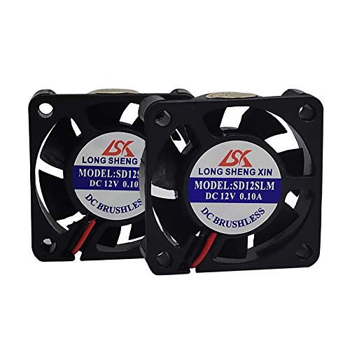 HAWKUNG 2 Pcs 3D Printer Cooling Fan Extruder Accessory 4010 40 x 40 x 10 mm DC 12V 2 Pin Connector Bearing Silent Brushless Heatsink Cooler Blower for 3D Printer, Black