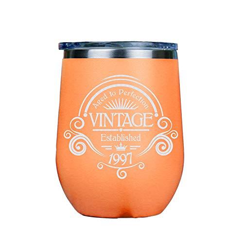 Vintage 1997 – Vaso aislado de vino de acero inoxidable sin tallos con tapa transparente de 12 onzas incluye tarjeta de emparejamiento, 12 onzas