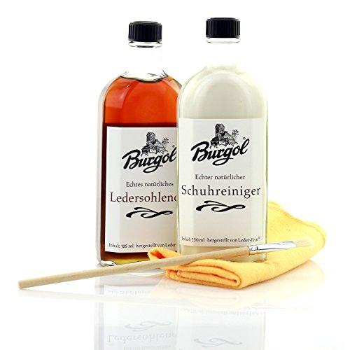 Burgol Ledersohlenöl 125ml + Schuhreiniger 250ml mit Tuch und Pinsel