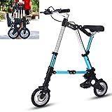 KTops Bicicletas Plegables 8 Pulgadas Variable Mini City Bicicleta de una Sola Velocidad Velocidad Amortiguador de Bicicletas Bicicletas Plegable señoras del Estudiante de Mujeres,Azul