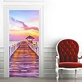 BARFPY 3D Etiqueta de Puerta Autoadhesivo Desmontable Paisaje de puente de madera de playa rosa mural de puerta Pvc Art Papel Tapiz Fotográfico Habitación De Los Niños Dormitorio Cocina Mural 88x200cm