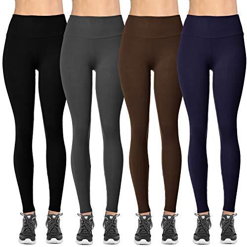 VIV Collection Plus Size Solid Brushed Leggings 4-Pack (Black/Charcoal/Navy/Dark Brown)
