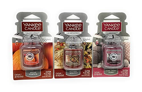 Yankee Candle Car Jar Ultimate Autumn 3 Pack - Spiced Pumpkin, Autumn Wreath, Home Sweet Home