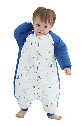 Chancelière d'hiver pour bébé avec fermeture éclair et manches longues amovibles 0-6 ans - Bleu - 2-3 ans