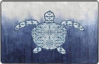 ブルーウミガメスーパーソフトインドアモダンエリアラグふわふわラグダイニングルームホームベッドルームカーペットフロアマットベビーキッズ犬猫80x58インチ-60x39インチ