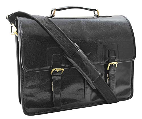 Mens Real Italian Leather Briefcase Messenger Expandable Office Laptop Satchel Bag HLG200 Black