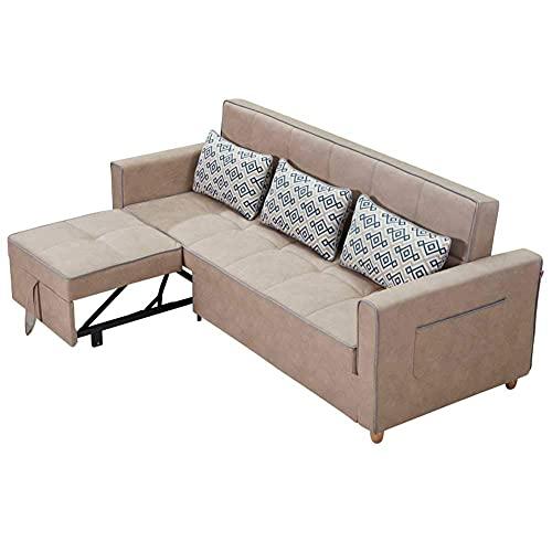 FACAZ Sofá de Lujo contemporáneo para Sala de Estar, sofá Cama, Gran Esquina, con Almacenamiento, sofá Cama, sofá Cama Moderno, sofá de Tela, Beige