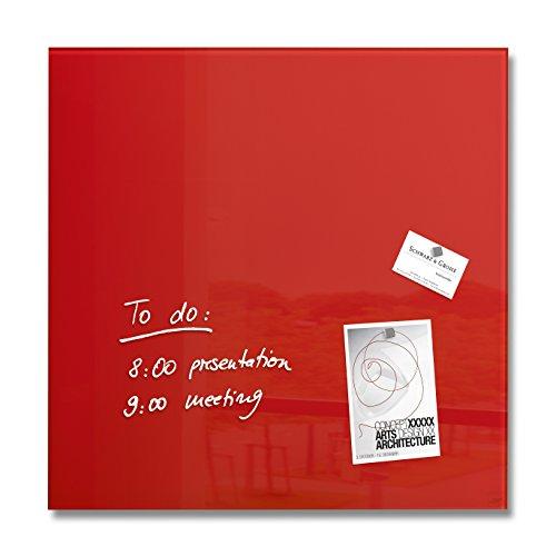 SIGEL GL114 Lavagna magnetica di vetro   bacheca di vetro Artverum, rossa, 48 x 48 cm