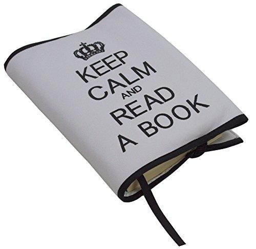 Custodia protettiva o copertina per libri. Keep calm and read a book. Vari colori disponibili. (Grigio/Nero)