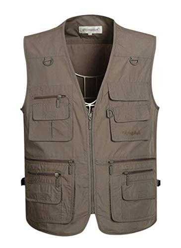 Gihuo Men's Summer Cotton Leisure Outdoor Pockets Fish Photo Journalist Vest Plus Size (L, Grey)