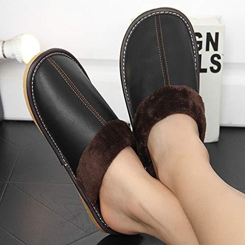 zapatos de casa suela antideslizante para interiores y e,Inicio zapatos de suela gruesa de algodón, pantuflas antideslizantes de lana cálida-negro_41-42,zapatos de casa con suela de goma antideslizan