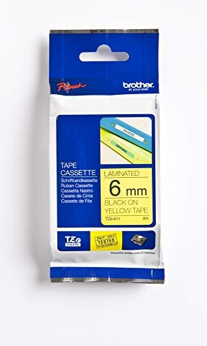 Brother Original P-touch Schriftband TZe-611 6 mm, schwarz auf gelb (kompatibel u.a. mit Brother P-touch PT-H100LB/R, -H105, -E100/VP, -D200/BW/VP, -D210/VP)