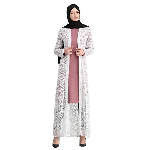 WUDUBE Mode Frauen Muslim Robe, Abaya Damen Lace Open Langes Kleid Muslimische Frauen Lange Haare Robe
