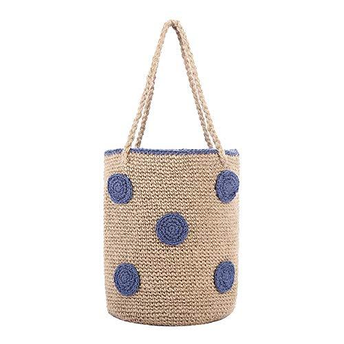 JenLn Bolsas Tejidas a Mano Bramante Bolso Tejido Mar Vacaciones Playa Bolsa Bali Cubo Moda (Color : Blue, Size : One Size)