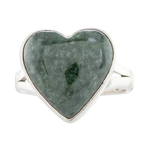 NOVICA Jade .925 Sterling Silver Heart Shaped Ring, Love Dream'