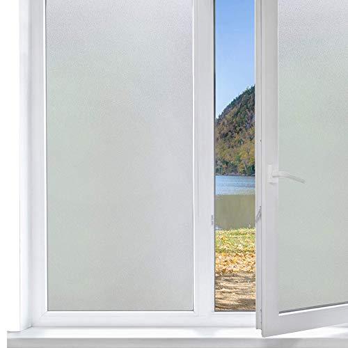 Funfox Milchglasfolie, Sichtschutz, selbstklebend, Fensteraufkleber, blickdicht, Fensterfolie, statische Glas-Fensterfolie für Badezimmer, Büro, Küche, Wohnzimmer, weiß, matt, 90 x 200 cm