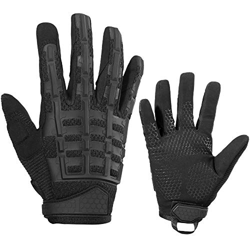YOSUNPING Tactical Rubber Knuckle Full Finger Gloves Protection Guard for Motorcycle Cycling ATV Bike Motorbike Hunting Hiking Airsoft Paintball Riding Driving Work Outdoor Gear Black L
