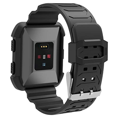 Fitbit Ionic Smartwatch Ersatz Armband - Zubehör Weich Silikon Sport Armband Gurt Weiche Silikon Einstellbare Mode Sport Strap Ersatz Zubehör für Fitbit Ionic Fitness Smart Watch (Schwarz)