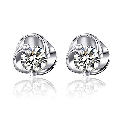 KnSam Boucle d'Oreille Femme Fine Diamant 0.05ct, Or Rose 18 Carats Élégance Cadeau Noël