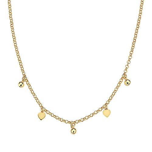 Pori Jewelers 18K Yellow Gold Plated 925 Sterling Silver Italian Heart Charm Chain Choker Necklace for Women - 13