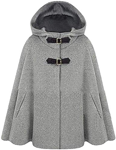 Women's Wool Blend Shawl Hoodie Casual Loose Caftan Poncho Trench PEA Coat