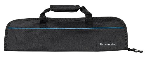 Messermeister 5-Pocket Heavy Duty Nylon Padded Knife Roll, Luggage Grade and Water Resistant, Black