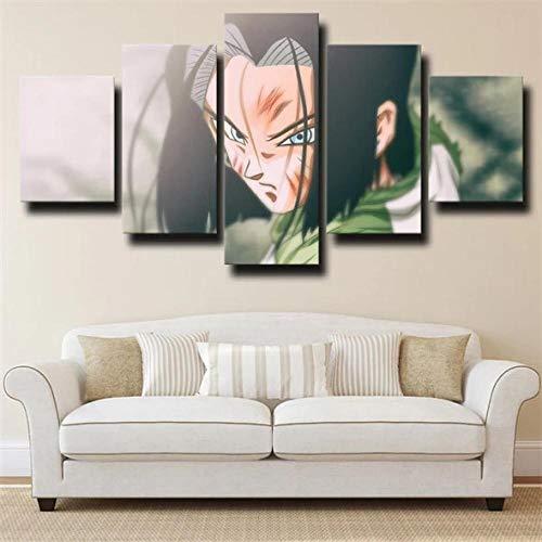 SESHA Póster De Lienzo 5 Piezas HD Arte De La Pared Impresa Decoración Dormitorio El Hogar Pintura De La Lona Foto El Dragón Ba Android 17 Cara(Enmarcado)