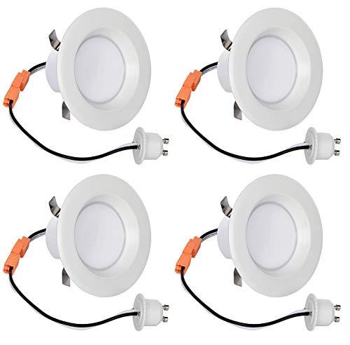 LB13111 (4-Pack) 3-Inch LED Downlight Retrofit, GU10 Base, 8-Watt (50W) Cool White 4000K, LED Retrofit Recessed Lighting Fixture, 560 Lumens, Dimmable, ETL-Listed