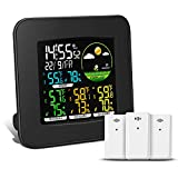 Geevon Weather Station Wireless Indoor Outdoor Thermometer Multiple Sensors, Color LCD Display Digital Weather Thermometer with Atomic/Alarm Clock, Calendar and Adjustable Backlight