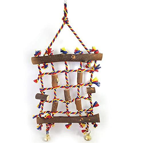 JYOKK Juguetes para Loros depara Colgar Campanas para pájaros Soporte para Percha de pájaros para Loros Perchas Madera Natural de Juguete para Periquitos Juguete de Entrenamiento