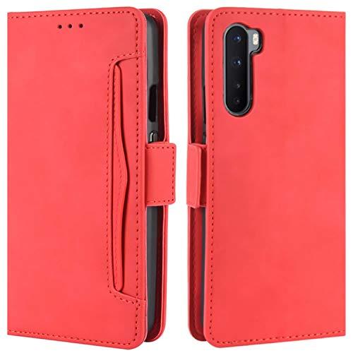 HualuBro Handyhülle für OnePlus Nord Hülle Leder, Flip Hülle Cover Stoßfest Klapphülle Handytasche Schutzhülle für OnePlus Nord 5G Tasche (Rot)