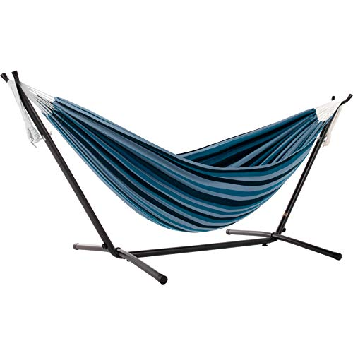Vivere Double Cotton Hammock with Space Saving Steel Stand, Blue Lagoon (450 lb Capacity - Premium...