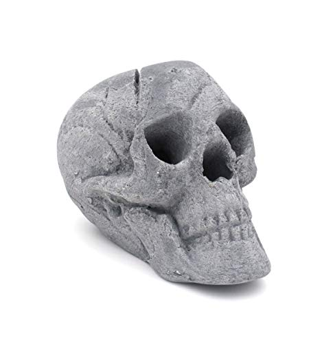 OSKER Ceramic Fireproof Faux Human Skull Decor for Wood or Gas Fire Pit, Fireplace, Campfire, BBQ, or Halloween Decoration - 9 inch (Gray)