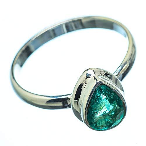 Zambian Emerald, Sambischer Smaragd 925 Sterling Silber Ring 6.25