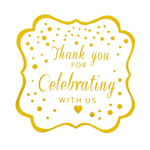Thank You For Celebrating With Us Stickers,Fancy Frame Rectangular Labels Stickers, Metallic Gold Ink,50-Pack 2 inch