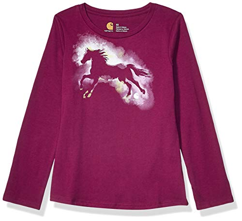 Carhartt Girls' Big Long Sleeve Graphic Tee T-Shirt, Watercolor Horse (Plum), X-Large