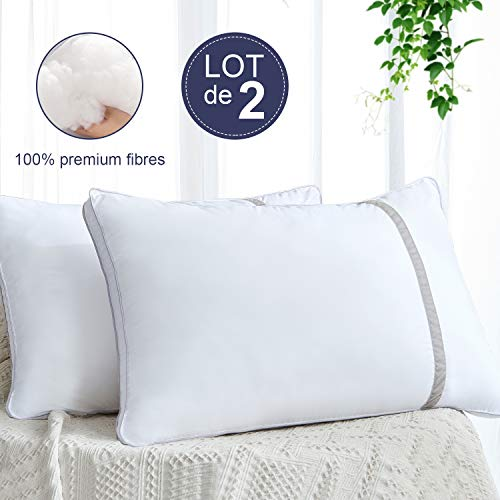 BedStory Oreillers 50x70 Lot de 2, Oreiller Hôtel, Coussin Anti-Acarien, Garnissage Fibre Creuse 3D et 7D, 2 Oreillers Gonflants, Respirant et Hypoallergénique