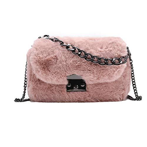 Damen Winter Weiche Plüsch Lock Handtasche Schultertasche Elegante Damen Kette Geldbörse Handtasche Kunstfell Crossbody Tasche