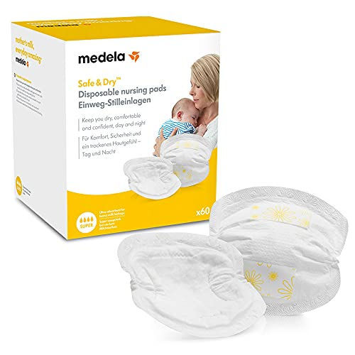 Medela Safe & Dry Disposable Nursing Pads - Ultra-Absorbent, Discreet Nursing Pads, Pack Of 60 Individually Wrapped Breast Pads