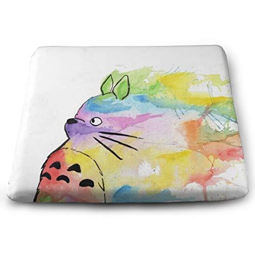 Sitzkissen aus Memory-Schaumstoff für Autositzerhöhung – Sitzkissen für Bürostuhl – Regenbogenfarben Totoro