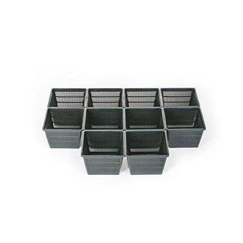 Inter Flower – Set di 10 cestini per piante acquatiche, 18 x 18 x 12 cm, adatti per laghetti da giardino, ideali per piante acquatiche come ninfee/plastica/laghetto da giardino