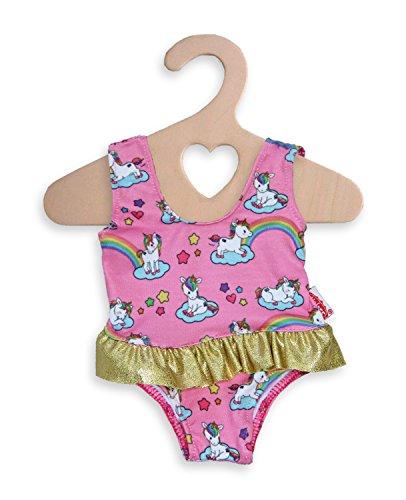 Heless 2662 - Badeanzug für Puppen, Motiv Einhorn, Größe 35 - 45 cm, für Badespaß an heißen Sommertagen